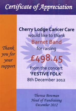 Certificate of Appreciation from Cherry Lodge Cancer Care for Festive Folk Concert
