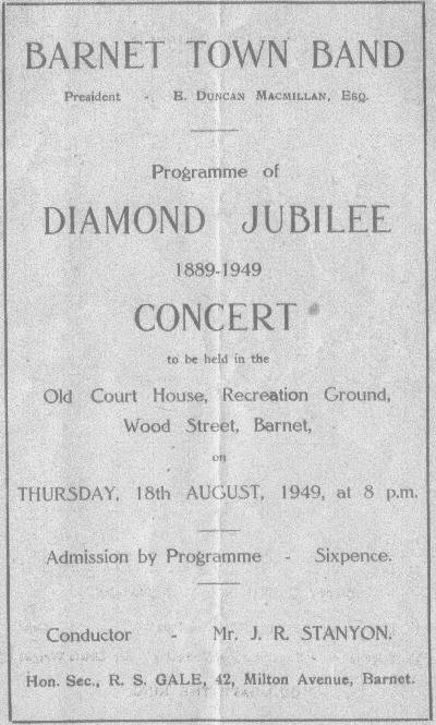 Programme from Diamond Jubilee Concert 1949